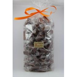 Sachet cello fond carton 1 kg Nougat de Montélimar tendre enrobé de Chocolat au lait à l'orange