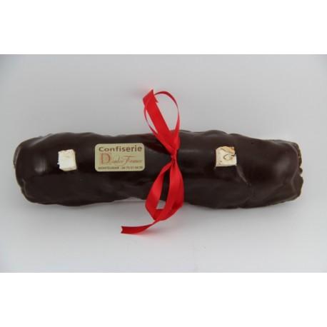 Bûche de Noël 500 g en Nougat tendre enrobé de chocolat noir