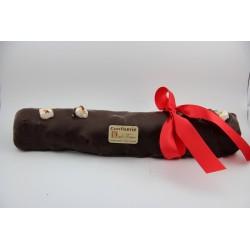 Bûche de Noël 1 kg en Nougat tendre enrobé de chocolat noir