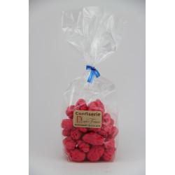 Sachet cello fond carton 200g Pralines rouges artisanales