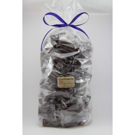 Sachet cello fond carton 1 kg Nougat de Montélimar tendre enrobé de Chocolat Noir