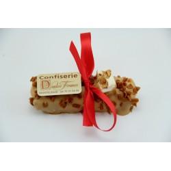 INDISPONIBLE, VICTIME DE SON SUCCES Bûchette de Noël 80 g en Nougat tendre enrobé de chocolat caramel