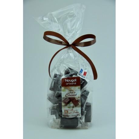 Sachet 200 g Nougat de Montélimar tendre enrobé de Chocolat Noir