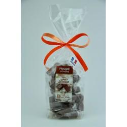 Sachet 200 g Nougat de Montélimar tendre enrobé de Chocolat au lait à l'orange