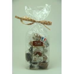 Sachet 200 g Assortiment de Nougat de Montélimar au chocolat Noir, Orange et caramel