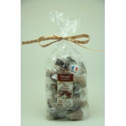 Sachet 400 g Assortiment de Nougat de Montélimar au chocolat Noir, Orange et caramel