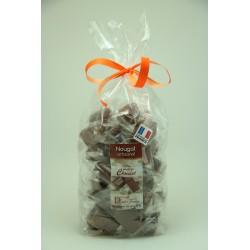 Sachet 400 g Nougat de Montélimar tendre enrobé de Chocolat au lait à l'orange