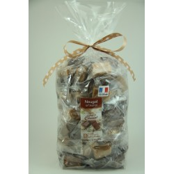 Sachet 1 Kg Assortiment de Nougat de Montélimar au chocolat Noir, Orange et caramel
