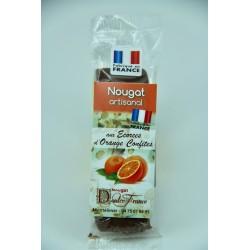 Barre 50 g Nougat aux écorces d'oranges confites enrobé de chocolat au lait à l'orange
